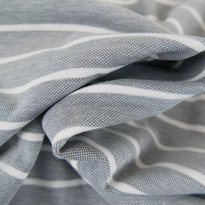 Tissu jersey piqué rayures - gris x 10cm