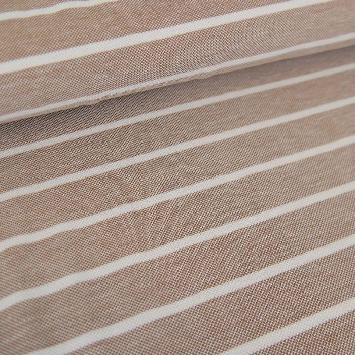 Tissu jersey piqué rayures - beige x 10cm
