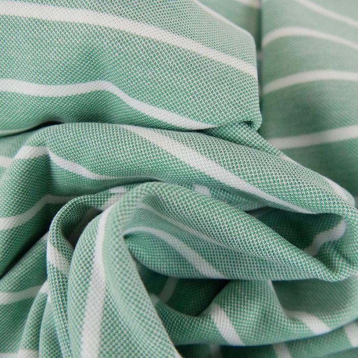 Tissu jersey piqué rayures - vert lichen x 10cm