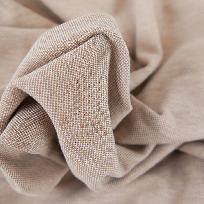Tissu jersey piqué - beige x 10cm