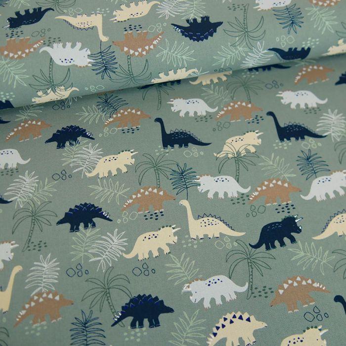 Tissu popeline de coton dinosaures - vert sauge x 10 cm