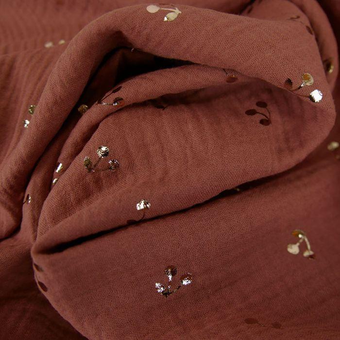 Tissu double gaze cerises dorées - terracotta x 10 cm