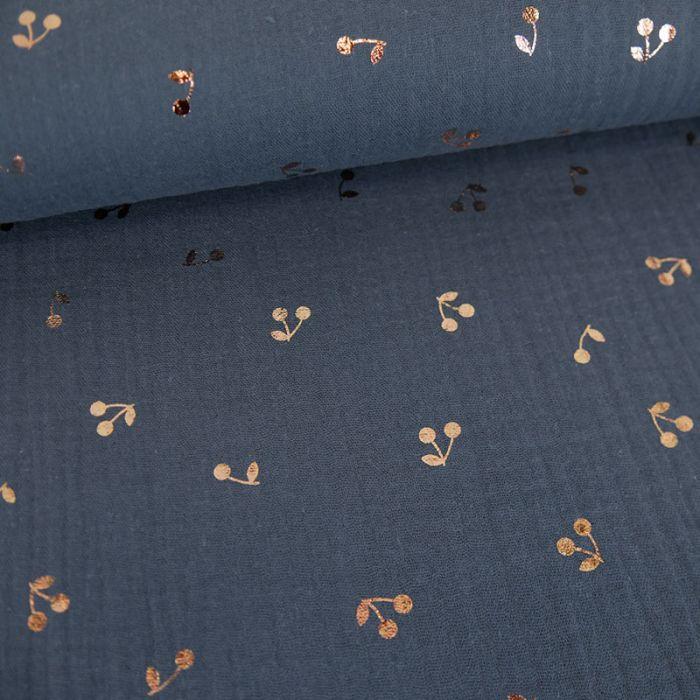 Tissu double gaze cerises dorées - bleu jean x 10 cm