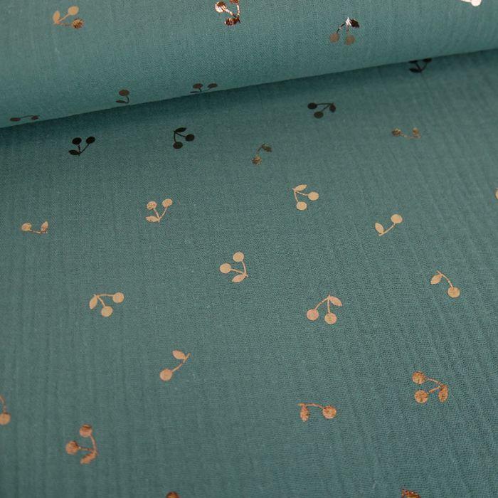 Tissu double gaze cerises dorées - eucalyptus  x 10 cm
