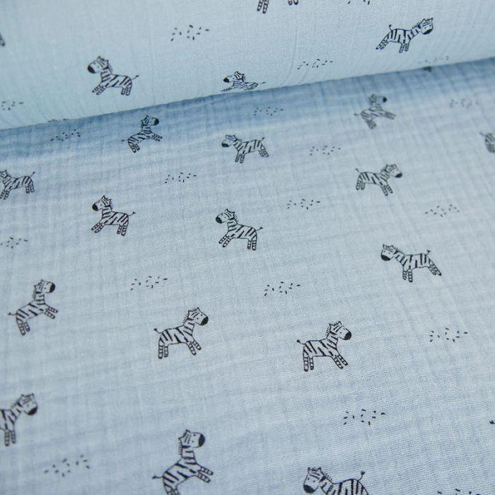 Tissu double gaze zèbres - bleu clair x 10cm
