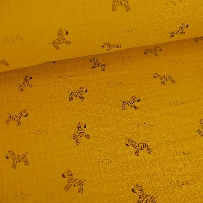 Tissu double gaze zèbres - moutarde x 10cm
