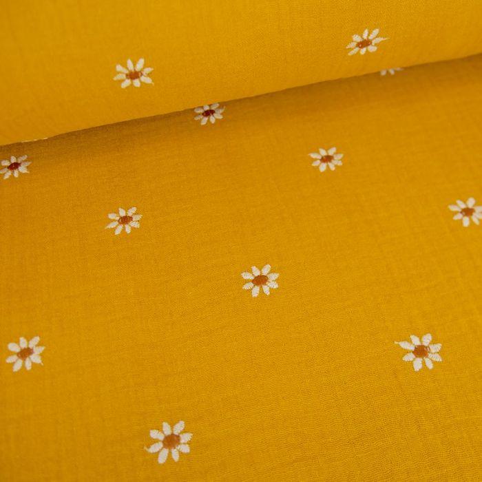 Tissu double gaze marguerites brodées - moutarde x 10cm