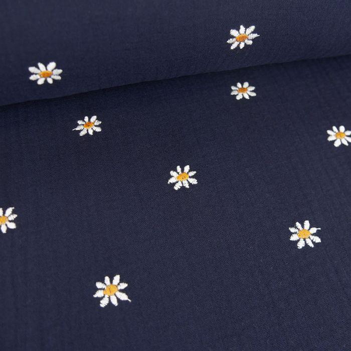 Tissu double gaze marguerites brodées - bleu marine x 10cm