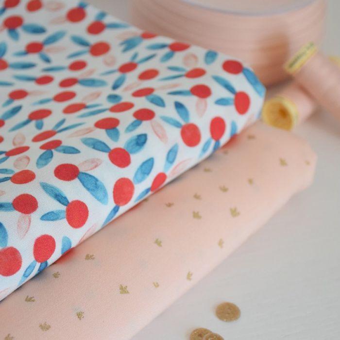 Tissu viscose Chérie berry - Cousette x 10 cm