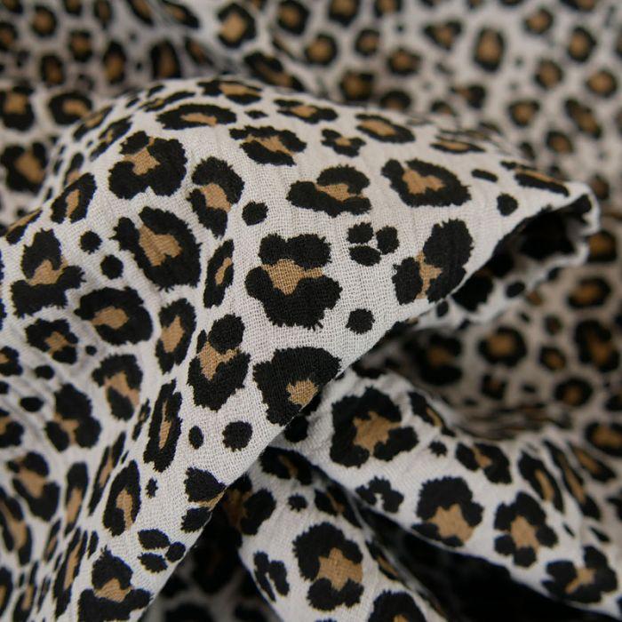 Tissu double gaze léopard - gris x 10 cm