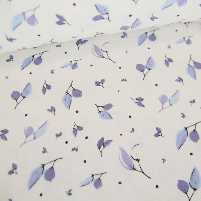 Tissu jersey fin feuilles bleues - blanc x 10 cm