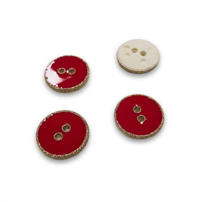 Bouton rebord paillettes - rouge x 1