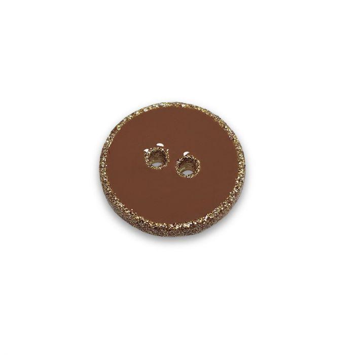 Bouton rebord paillettes - camel x 1