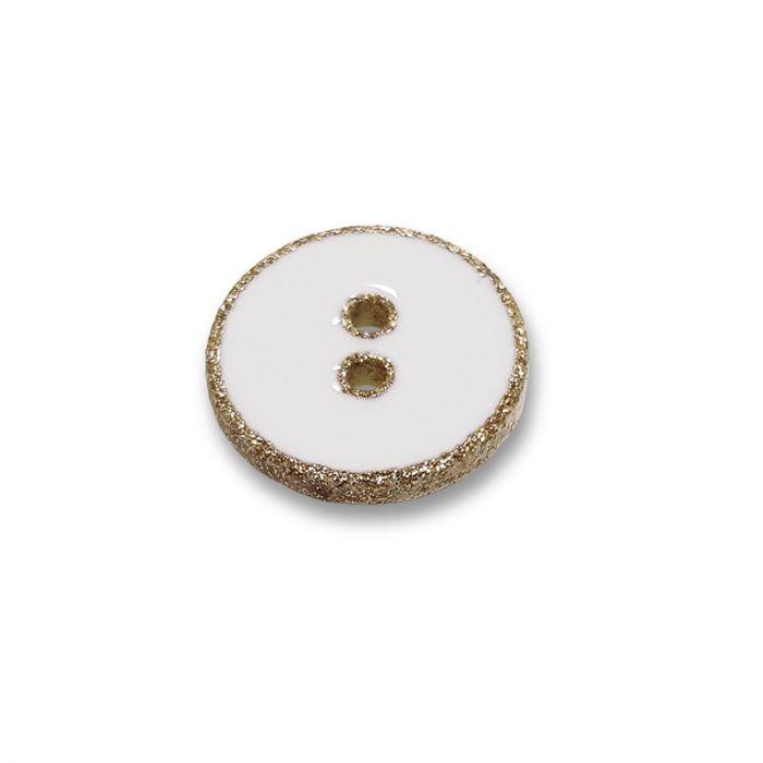 Bouton rebord paillettes - blanc x 1