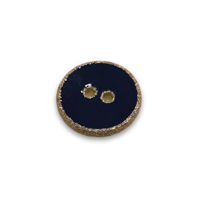 Bouton rebord paillettes - bleu marine x 1