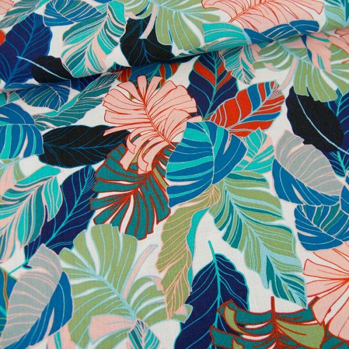 Tissu viscose feuillages tropicales - blanc cassé x 10 cm