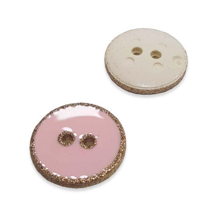 Bouton rebord paillettes - rose x 1