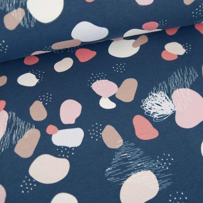 Tissu jersey terrazzo - marine x 10cm