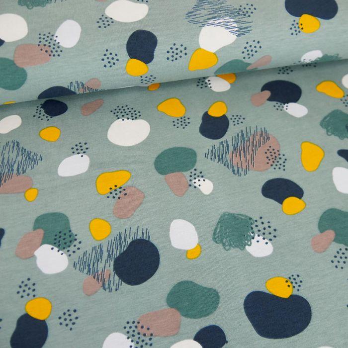 Tissu jersey terrazzo - vert de gris x 10cm