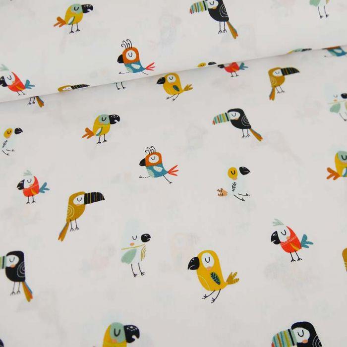 Tissu popeline de coton perroquets - blanc x 10 cm
