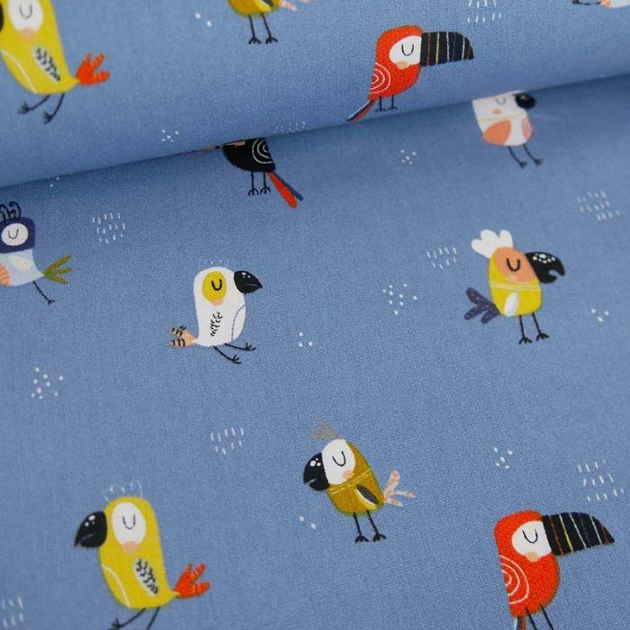 Tissu popeline de coton perroquets - bleu x 10 cm