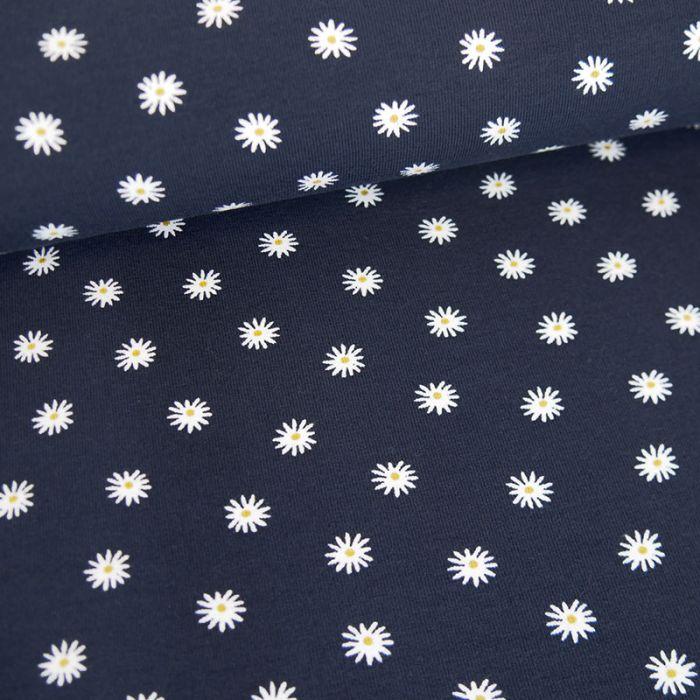 Tissu jersey bio marguerites - bleu foncé x 10 cm