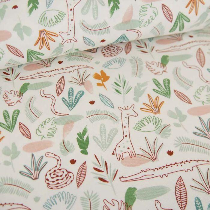 Tissu jersey animaux savane - écru x 10cm