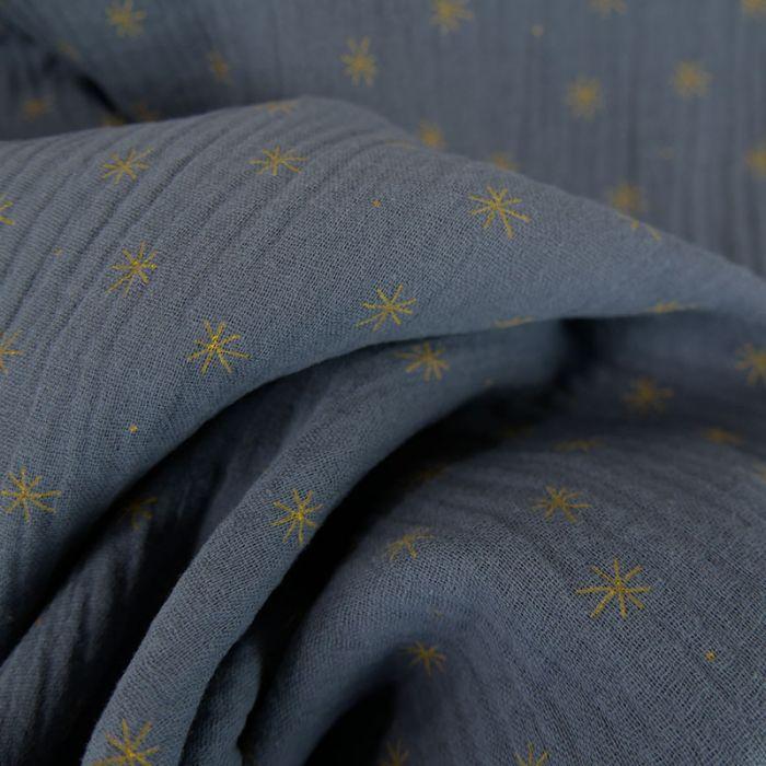 Tissu double gaze étoiles - bleu gris x 10cm