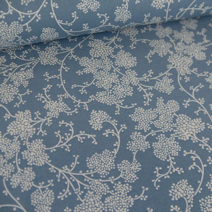 Tissu popeline de coton arabesques florales - bleu jean x 10 cm