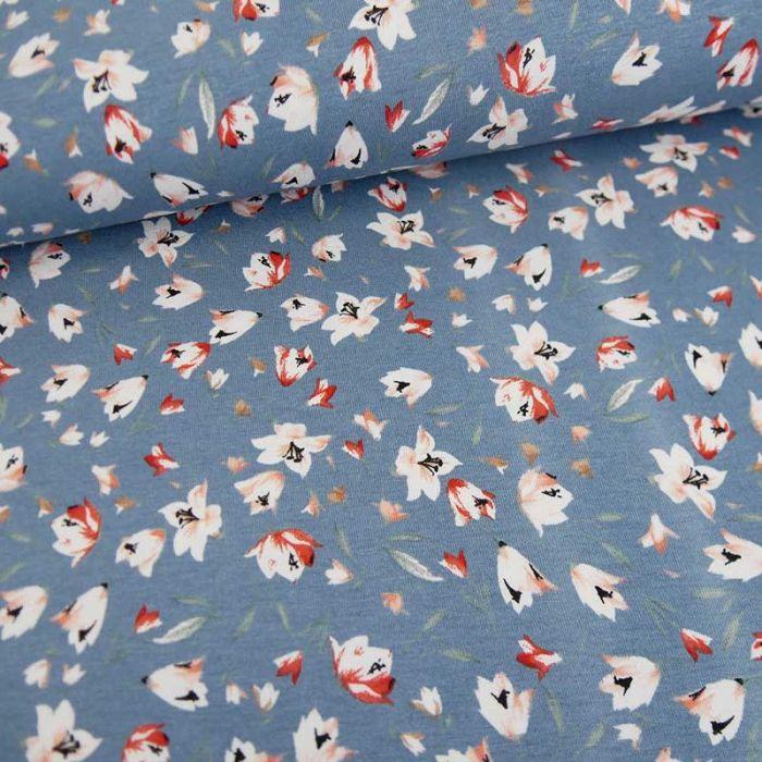 Tissu jersey fin fleurs - bleu clair x 10 cm