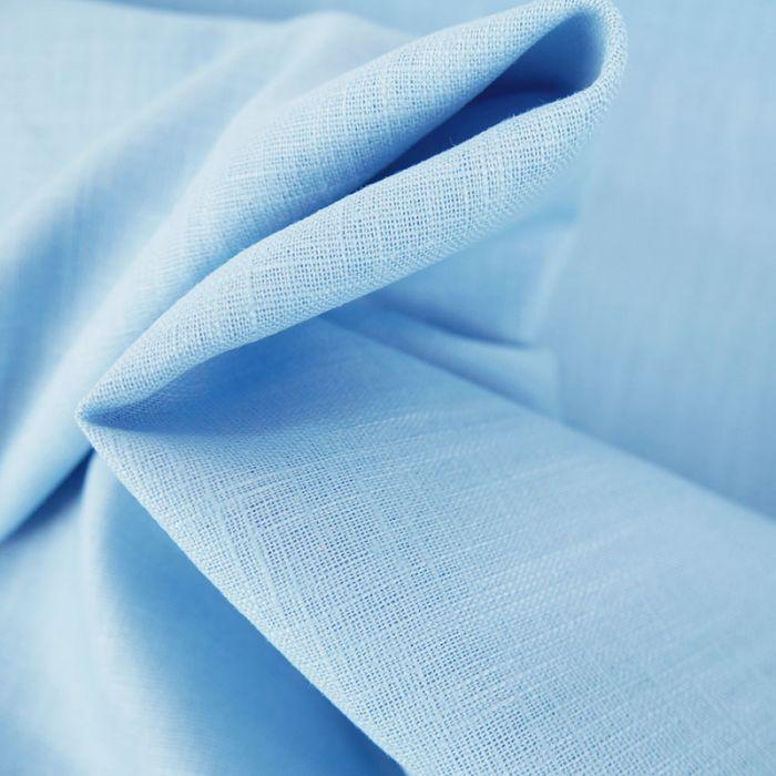 Tissu ramie Linen look - bleu ciel x 10cm