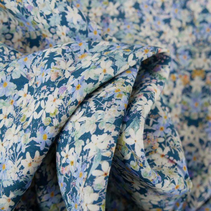 Tissu viscose fleurs Stella - bleu x 10 cm