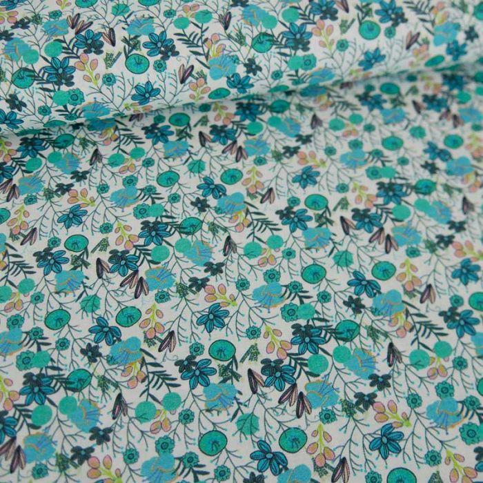 Tissu batiste de coton à fleurs Ava - vert x 10 cm