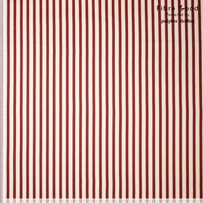 Tissu coton élasthanne à rayures rouges - Fibre Mood x 10 cm