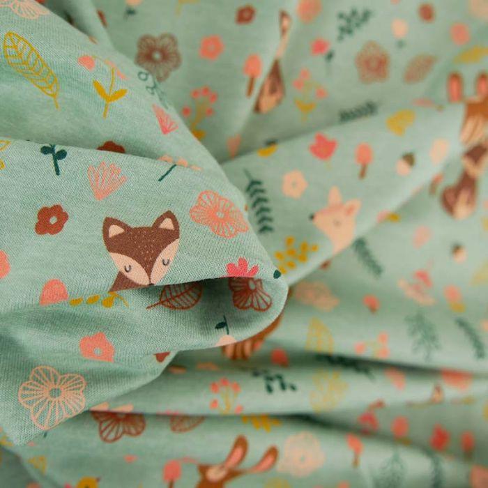 Tissu jersey animaux forêt - vert x 10 cm