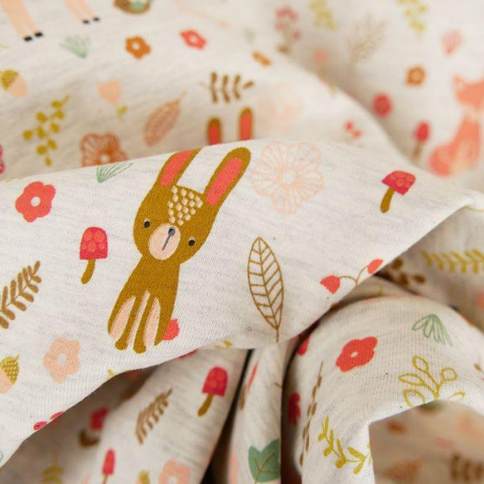 Tissu jersey animaux forêt - gris chiné x 10 cm