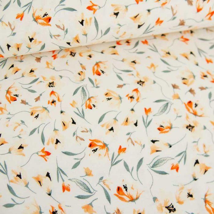Tissu jersey fin fleurs - blanc cassé x 10 cm