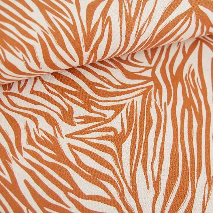 Tissu viscose lin zébré - orange  x 10 cm