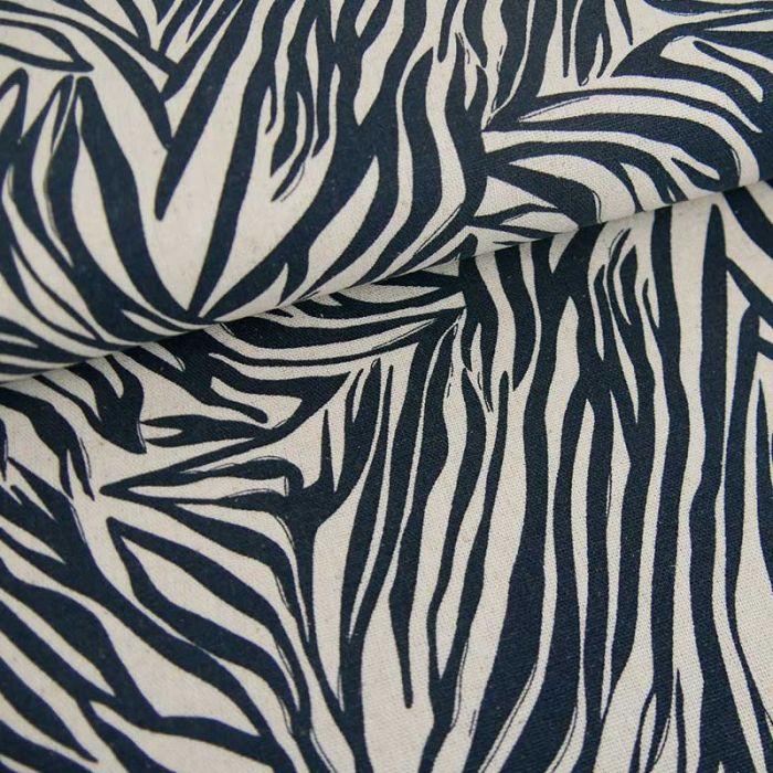 Tissu viscose lin zébré - marine x 10 cm