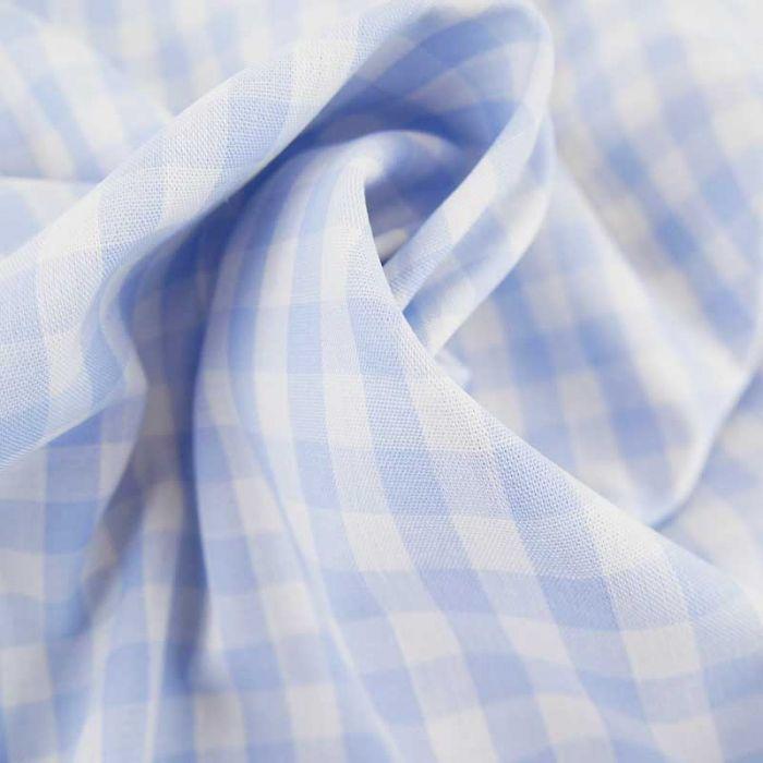Tissu coton vichy - bleu ciel x 10cm
