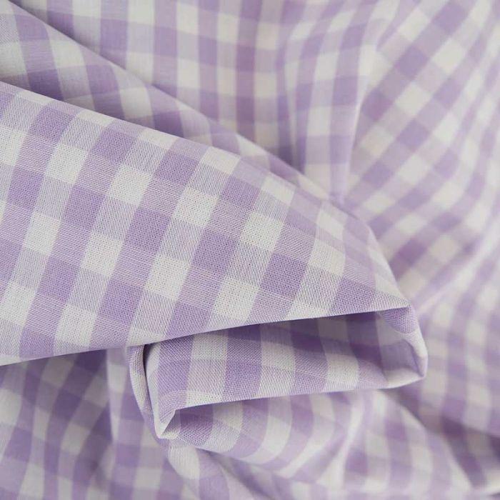 Tissu coton vichy - parme x 10cm