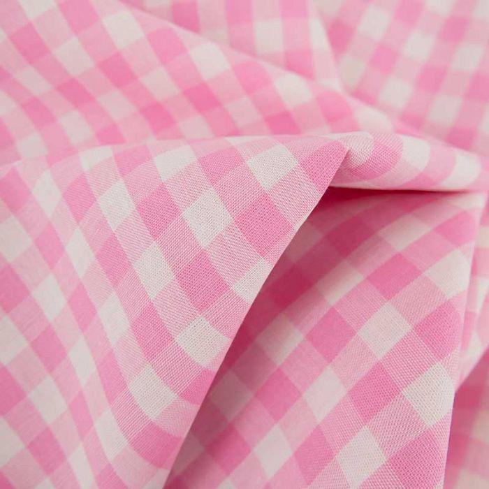 Tissu coton vichy - rose x 10cm