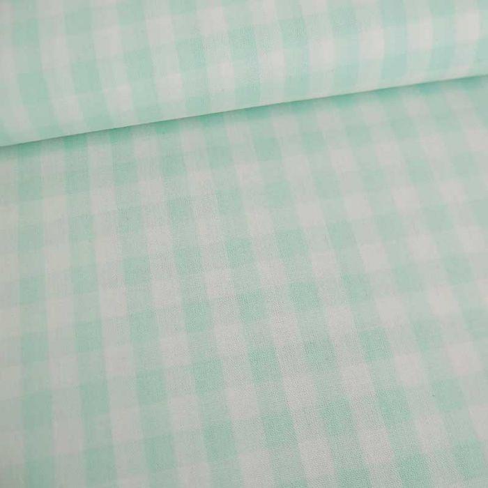 Tissu coton vichy - vert pastelx 10cm
