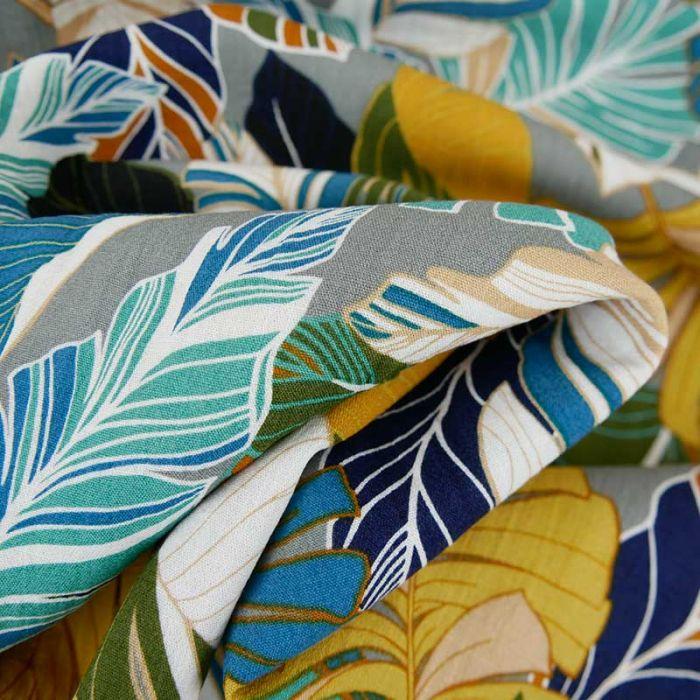 Tissu viscose feuillages tropicales - gris x 10 cm