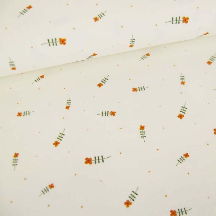 Tissu jersey bio fleurs Maïa - écru  x 10 cm