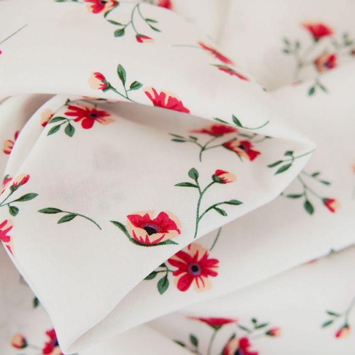 Tissu viscose fleurs Amélia - blanc x 10 cm