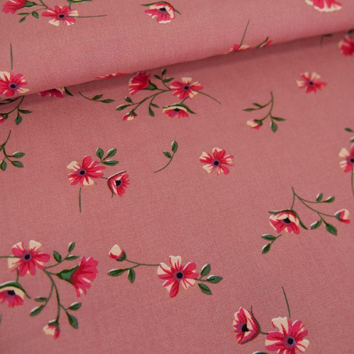Tissu viscose fleurs Amélia - rose x 10 cm