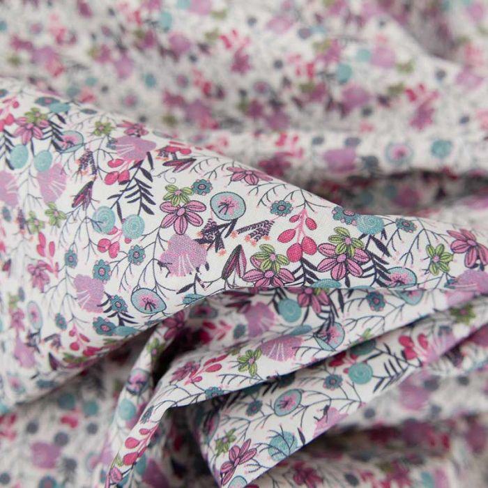 Tissu batiste de coton à fleurs Nova - rose x 10 cm