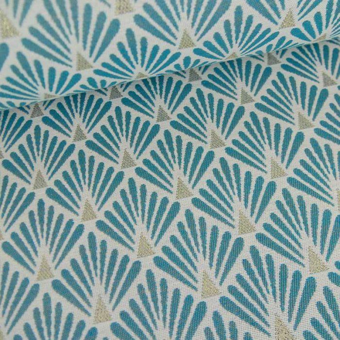 Tissu jacquard écailles bleu - or x 10 cm