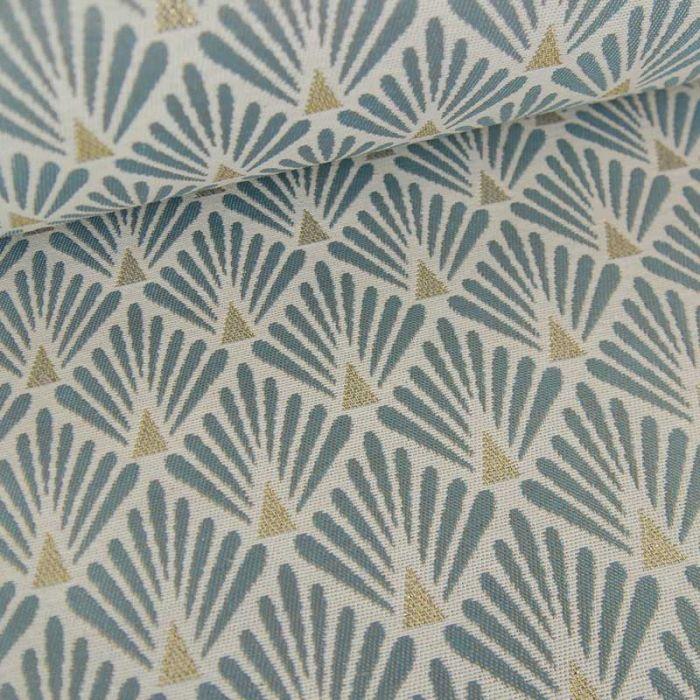 Tissu jacquard écailles gris - or x 10 cm